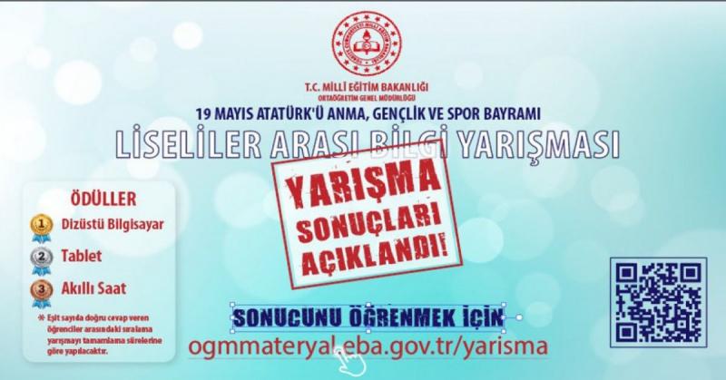 19 Mayıs Liseliler Çevrim İçi Bilgi Yarışmasında Türkiye 5.si Oldu