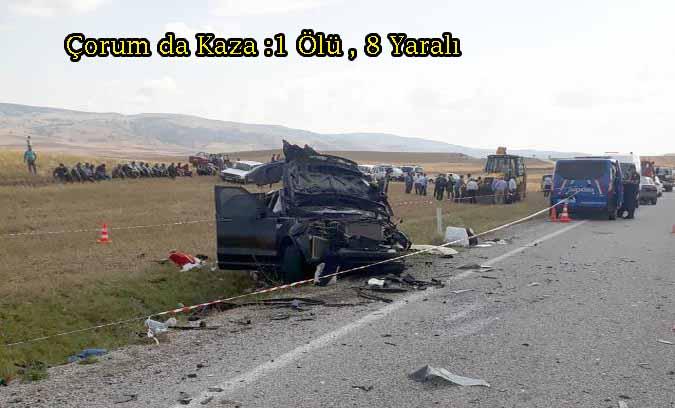 Çorum-Alaca Tokat Yolunda Kaza:1 ölü 8 Yaralı