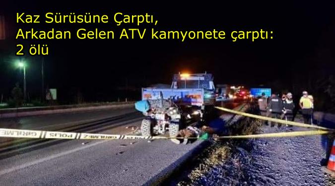 Kaz Sürüsüne Çarpınca, Arkadan gelen ATV Çarpıştı:2 ölü