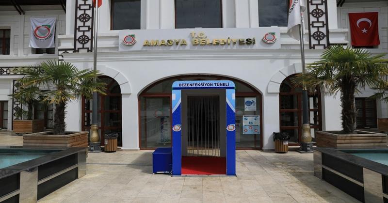 Amasya Belediyesi Girişine Dezenfeksiyon Tüneli Oluşturuldu