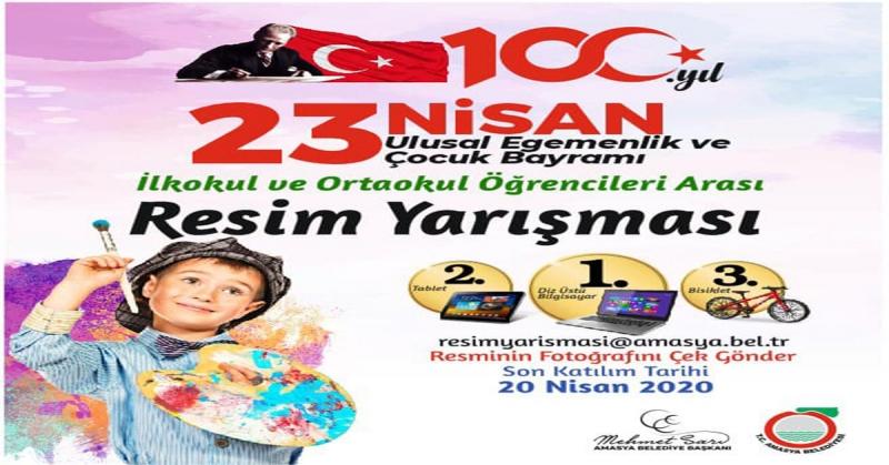 Amasya Belediyesi'nden 23 Nisan Konulu Resim Yarışması