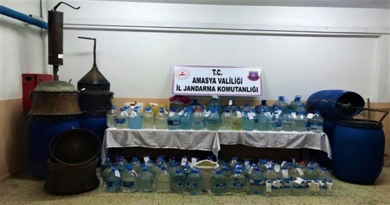 Amasya Jandarma'dan Sahte Alkol Operasyonu