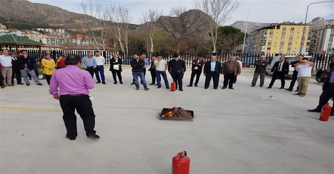 Amasya Milli Eğitim Müdürlüğü'nde Yangın Tatbikatı Yapıldı