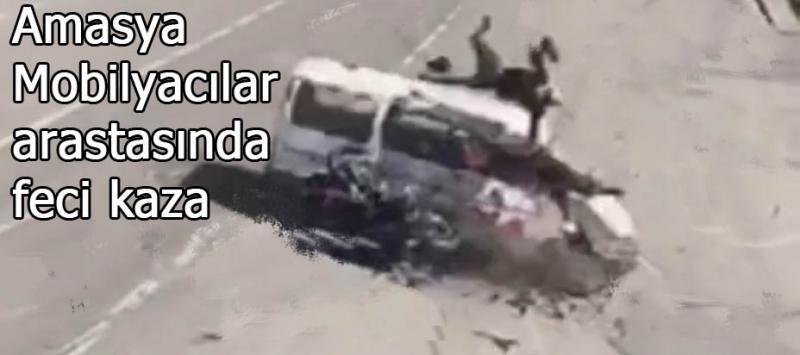 Amasya Mobilyacılar arastası önünde feci kaza