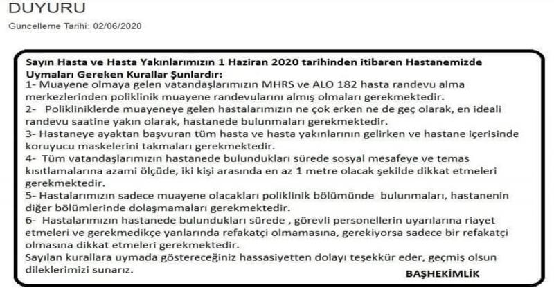 Amasya Sabuncuoğlu Şerefeddin Eğitim Araştırma Hastanesi Başhekimliğinden Duyuru