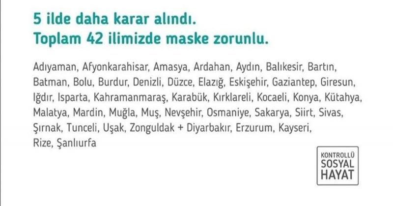 Amasya'nın da İçinde Bulunduğundu 42 İlde Maske Takmak Zorunluğu