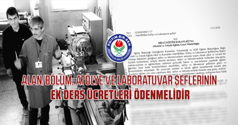 Camcı; 'alan/bölüm, atölye ve laboratuvar şeflerinin ek ders ücretleri ödenmelidir'