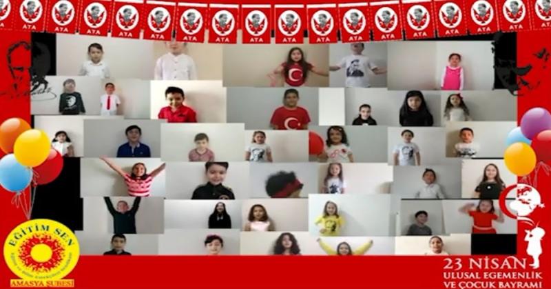 Eğitim-Sen Amasya Şubesi'nden 23 Nisan Ulusal Egemenlik ve Çocuk Bayramı Şiir Okuma Etkiliği