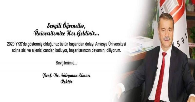 Elmacı; 'Amasya Üniversitesi adına sizi ve ailenizi candan kutluyorum'