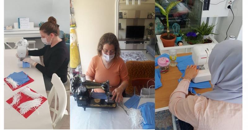 Gönüllü Öğretmenler Evlerinde Maske Dikiyor