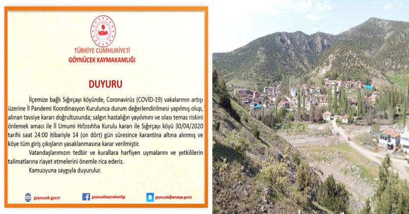Göynücek'de Sığırçayı Köyü Karantinaya Alındı