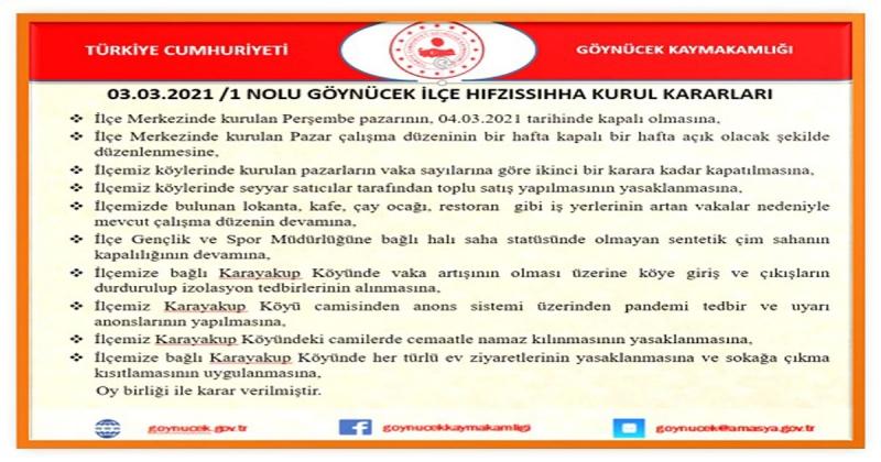 Göynücek'te Bir Köy Karantinaya Alındı
