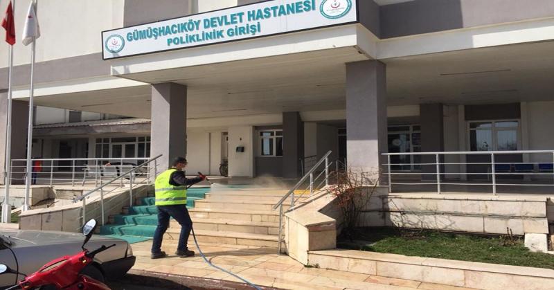 Gümüşhacıköy Belediyesi'nden Dezenfekte Çalışması