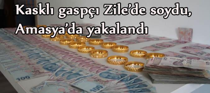 Kasklı gaspçı Zile'de soydu, Amasya'da yakalandı
