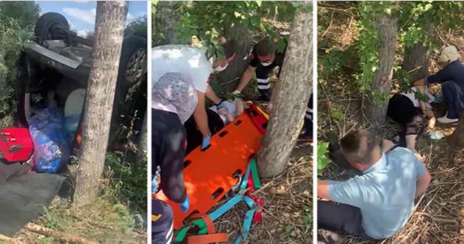 Kontrolden çıkan otomobil takla attı: 2'si çocuk 5 yaralı