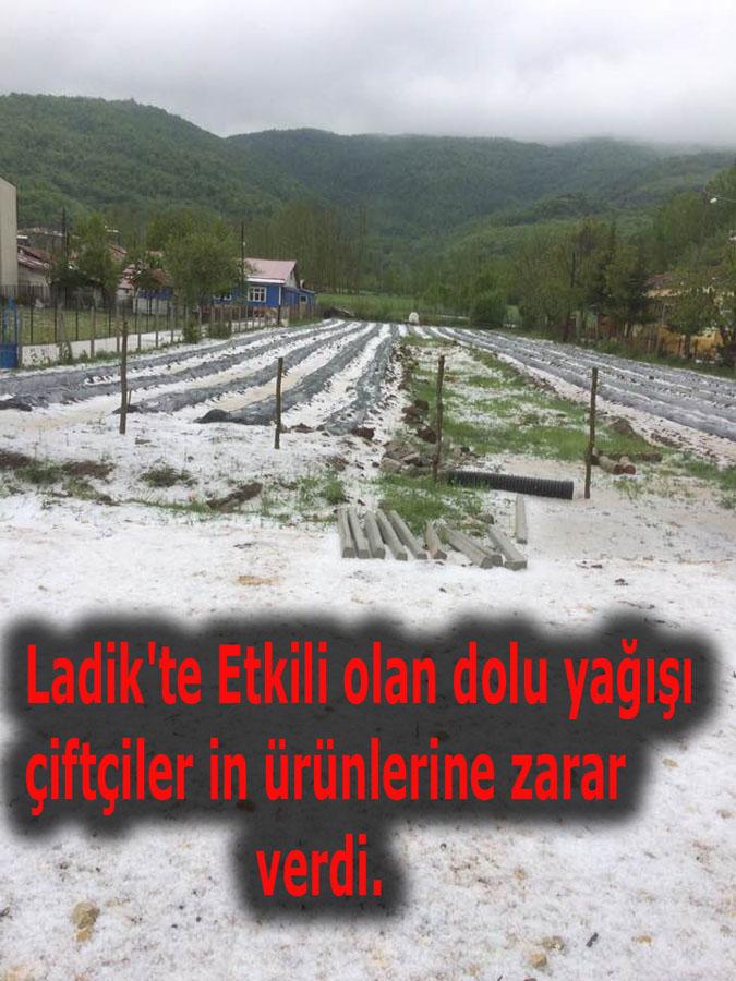 Ladik'te dolu yağışı etkili oldu