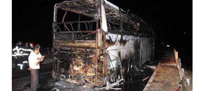 Merzifon Kayadüzü Köprüsünde Yolcu Otobüsü Yandı.