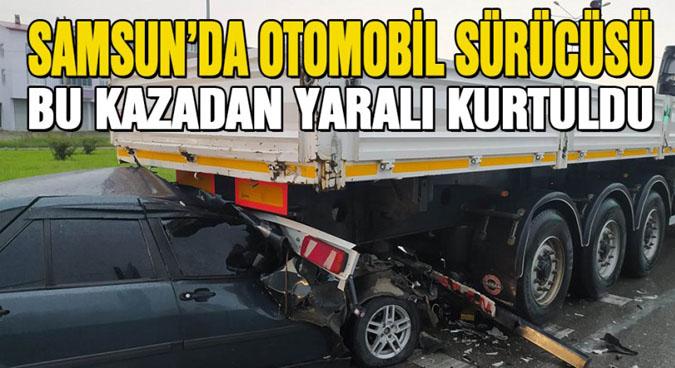 Otomobil Sürücüsü Bu Kazadan Yaralı Kurtuldu