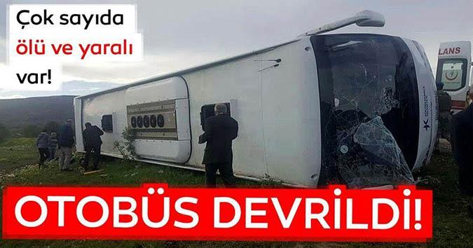 Reşadiye'de otobüs devrildi; ölü ve yaralılar var