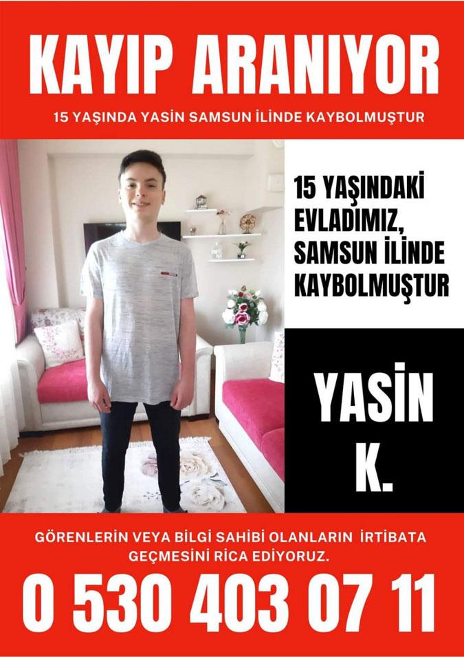 Samsun'da 15 yaşındaki Yasin K. Kayıp