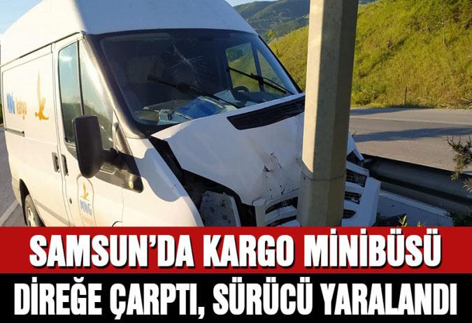 Samsun'da kargo minibüsü aydınlatma direğine çarptı, sürücü yaralandı