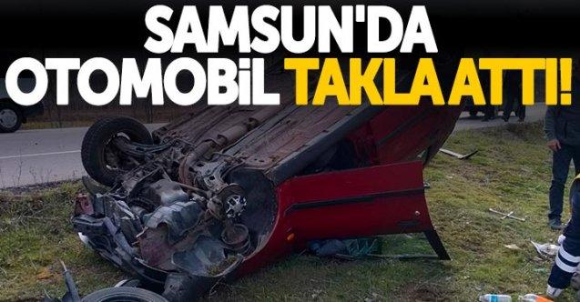 Samsun'da otomobil takla attı!