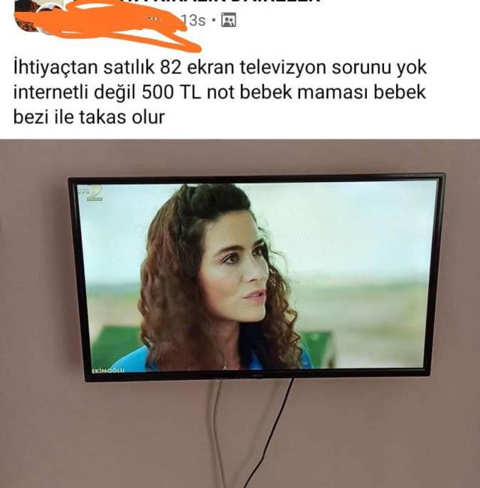 Televizyonunu satışa çıkaran vatandaştan çaresiz ilan: Bebek bezi ve maması ile takas olur