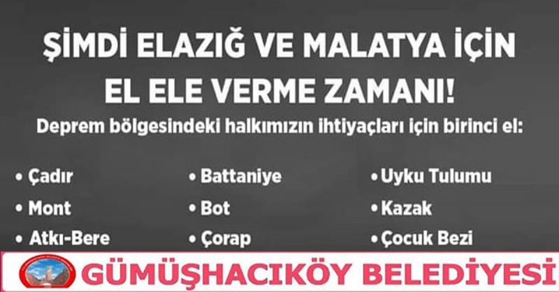 Gümüşhacıköy Belediyesi'nden Elazığ için Yardım Kampanyası