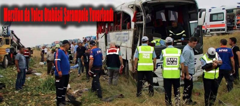 Merzifon da Yolcu Otobüsü Şarampole Yuvarlandı Çok Sayıda Yaralı..!