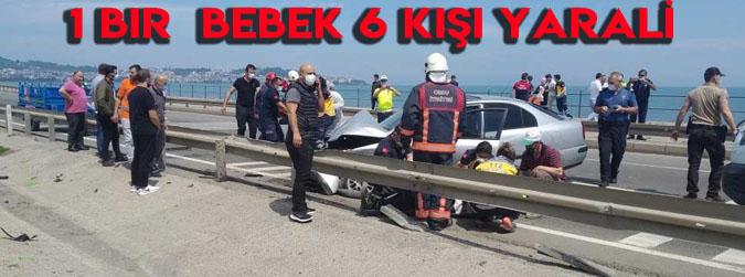 Ordu-Samsun yolunda patpat ile otomobil çarpıştı: 1'i bebek 6 yaralı