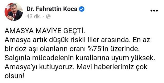 Sağlık Bakanı Koca, mavi kategoride yer alan Amasya'yı kutladı