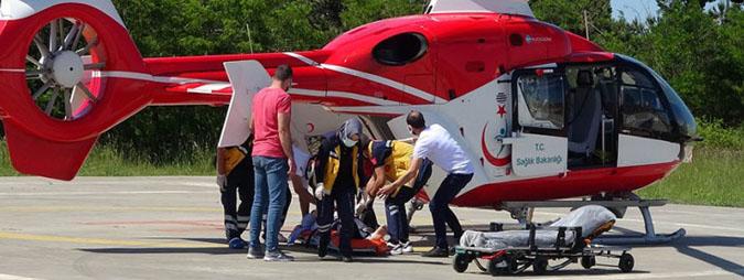 Samsun'da kalp krizi geçirdi, imdadına ambulans helikopter yetişti